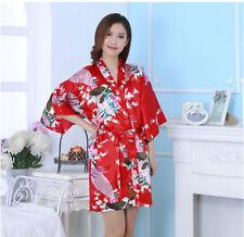 Women Plain Silk Satin Robes Bridal Wedding Bridesmaid Bride Gown Kimono Robe !