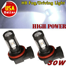 2 X H8 LED Bulbs H11 Cool White High Power 30W Fog Light DRL Lamps 12V-24V US