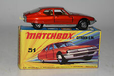 MATCHBOX SUPERFAST #51 CITROEN SM, BRONZE RED, CREAM INT., UNPAINTED BASE, BOXED