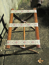 Luggage Rack Folding Hotel Butler Vintage Scheibe Wood Tapestry Cottage Decor