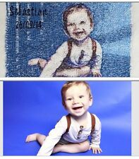 PERSONALISED EMBROIDERED BABY BLANKET PICTURE NAME,KEEPSAKE UNIQUE GIFT BOY&GIRL