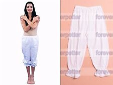 Victorian Bloomers White Gothic Lady Pantaloons Ladies Renaissance Elastic Pants