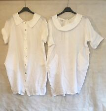 Italian Lagenlook LINEN Button Back COLLAR Pocket BALLOON Tunic Dress Top 50""