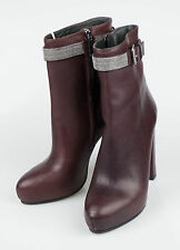 New. BRUNELLO CUCINELLI Purple Leather Booties Heels Boots Shoes Size 7/37 $1970
