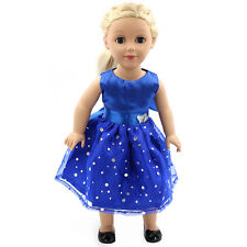 "Fits 18"" American Girl Madame Alexander Handmade Doll Clothes blue dress MG-004"