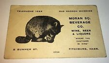 Rare Antique American Moran Square Beverage Co. Raccoon Whiskies! Alcohol Card!