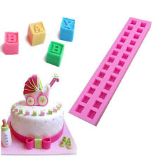 Silicone 26 Letters Shape Cake Mould Fondant Sugar Chocolate Candy Cupcakes Mold