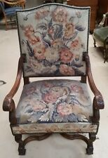 Antique Aubusson French Carved Fauteil Arm Chair Hand tied  Louis XIII