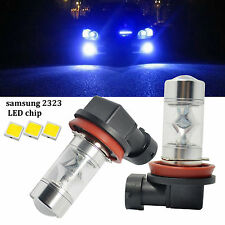 2x H8 Fog Lights Samsung 2323 60W 10000K Blue Car LED Driving Light DRL Bulbs