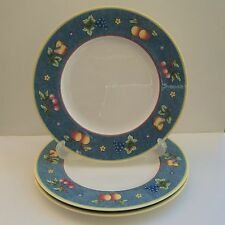 """Villeroy Boch Biella 3 Dinner Plates 10½"""" Fruit Blue Band Yellow French Country"""