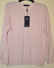 LADIES M&S COLLECTION PURE CASHMERE BUTTON FRONT CARDIGAN SIZE 20 PINK BNWT