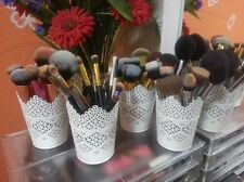 Set Of Six Make Up Brush Holder Pot White/Candle Holder FREE-POST