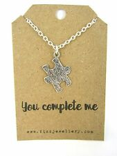 You Complete Me Silver Plated Puzzle Piece Jigsaw Necklace Message Card Gift