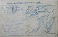 1860s ATLANTIC & GREAT WESTERN RAILWAY MAP NEW YORK ST LOUIS