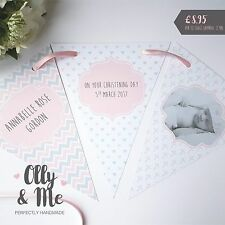 Handmade Personalised PHOTO Christening/New Baby/First Birthday Bunting Girl