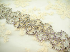 Stunning Beaded Motif Crystal Bridal Applique Diamante Trim Wedding Applique