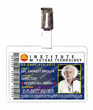 Back To The Future Institute Dr. Emmett Brown ID Badge Cosplay Prop Halloween