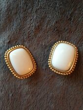 VINTAGE YSL YVES ST LAURENT large white gold tone clip-on earrings