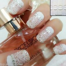 3D White Lace Nail Art tips Sticker Decal Full Wraps Acrylic #06040 Free P&P