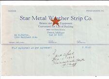 1923 STAR METAL WEATHER STRIP COMPANY Van Dyke Avenue DETROIT Michigan G. MORTON