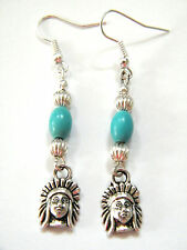 INDIAN CHIEF Earrings Faux Turquoise Beads Southwest Look! Silver Ear Wires NEW!
