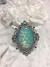 WEDDING AQUA BLUE fire opal victorian PENDANT MOONSTONE Necklace silver gold xma
