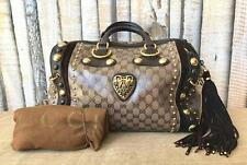 Auth GUCCI Brown Ebony GG Web Crystal Canvas Babouska Boston Stud Satchel Bag