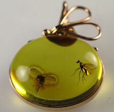 585 Gold Pendant with Insect Fossil Inclusion Two FLY Genuine BALTIC AMBER