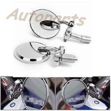 "Chrome Motorcycle 3""Round 7/8""Handle Bar End Rearview Mirrors For Honda Harley"