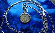 "1944-1945 PHILIPPINES US MARINE EAGLE SILVER 20MM COIN on a 30"" 925 SILVER CHAIN"