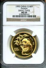 CHINA 1995  PANDA  GOLD   SMALL  DATE  1  OZ    100 YUAN   RARE    RED HOT
