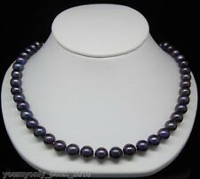 """MP"""" Fine 8-9mm AAA black pearl necklaces 925S 16""""Long"""
