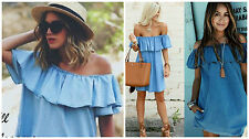 BNWT ZARA BLUE OFF-THE-SHOULDER DENIM DRESS SIZE M