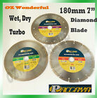 """180mm 7"""" Dry/ Wet/Turbo Diamond Cutting Disc Saw Blade Disk Marble Tile Paccaya"""