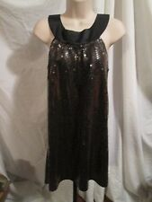 LaROK Sequin Sheath Dress Metallic Platinum Black Tie Front Sleeveless