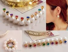 3 PAIRS DOUBLE SIDED EARRINGS pearl diamond crystal women gold plated cuff