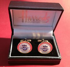 MV  AGUSTA HIGH QUALITY GOLD & SILVER PLATED CUFF LINKS IN HARRODS BOX