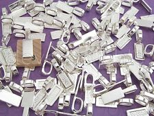 100 Tag Bails - Shiny Silver - 26x8mm - Glue On - Scrabble Glass Pendants Crafts