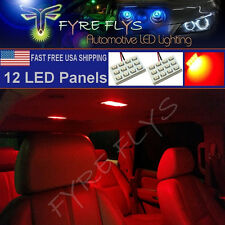 2X Red LED Dome Map Interior Light Bulb SMD 12-LED Panel Xenon HID Lamp Lights