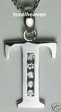 "BIG Initial ""T"" 14K White Gold D-Flawless CZ Pendant"