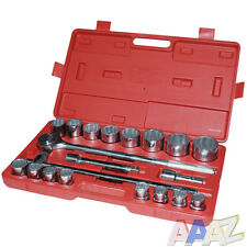 "20pc 3/4"" Drive Socket Set Ratchet Handle Sliding T Bar Extension 19-50mm Metric"