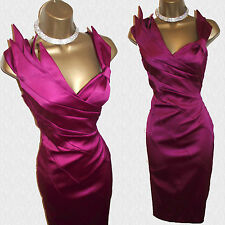 Exquisite Karen Millen Magenta Folded Fan Stretch Satin Wiggle Cocktail Dress 10