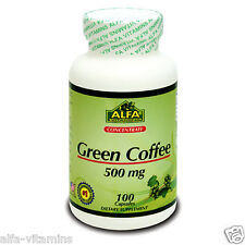 Green Coffee Bean Extract 500 Mg 100 Cap. Chlorogenic Acid. Helps Weight Loss