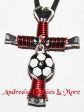 Disciples Cross Horseshoe Nail Necklace - Wire Wrapped Cross - SOCCER BALL