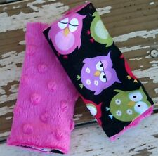 infant/toddler seat strap covers in sleepy owls and pink  minky