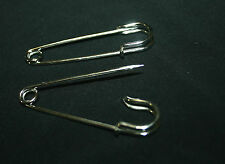 2 SILVER TONE KILT SKIRT BLANKET PINS HIJAB SCARF SHAWL 65 mm STITCH HOLDER