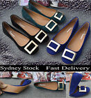 Women Velvet Flat Heel Flats Closed-toes With Buckle Trim Shoes Size 6 - 10