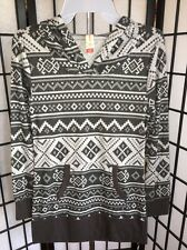 No Boundaries Size Small 3-5 Black & Grey Aztec Design Fashion Hooded Top NWT