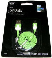 1M Flat USB Male to Micro USB Male Mobile Phone Charger Data Cable Lead - Green