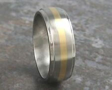 Titanium & 14K Gold Inlay Wedding Band Ring Custom Made to ANY Sizing 3-22